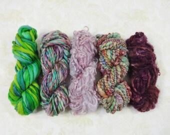 Gypsy Garden Handspun Art Yarn Mini Skein Collection Variety Pack 60 yards burgundy pink green