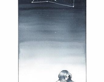 Silver Zodiac: Leo Print