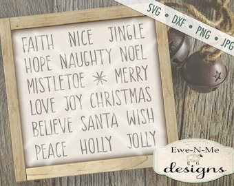 Christmas SVG File - Christmas Words svg Bundle - Rae Dunn Inspired Words SVG - Ornament SVG Files, Commercial Use - svg, dxf, png, jpg