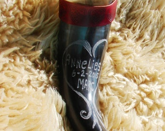 Engraved viking drinking horn, custom made, leather strap. Hearts. For Valentine, Wedding, Engagement, love, anniversary