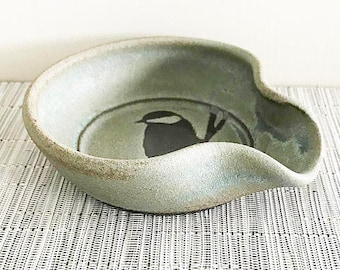 Spoon Rest - Ceramic Spoon Rest with Chickadee