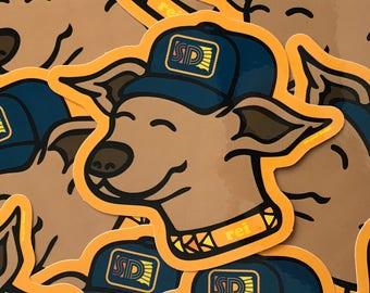South Dakota Dog Sticker - South Dakota Rei Puppy Vinyl Sticker - Hiking Dog in South Dakota Cap Sticker by Oh Geez! Design - Dog Decal
