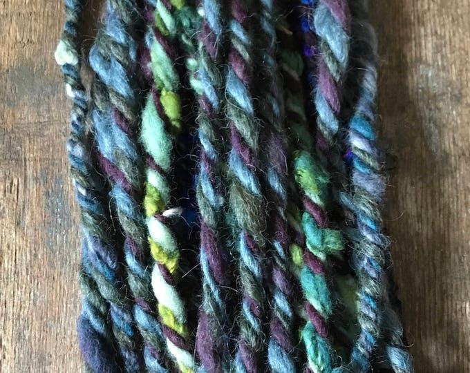 Cherub Rock, jumbo wild art yarn, 26 yards, blue purple green,  three ply textured art yarn, handspun, bulky wild yarn, wea
