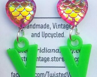 Letter V Monogram Sparkly Heart 90s Earrings