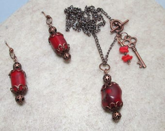 Antiqued Copper and Genuine Coral Boho Necklace/Earrings
