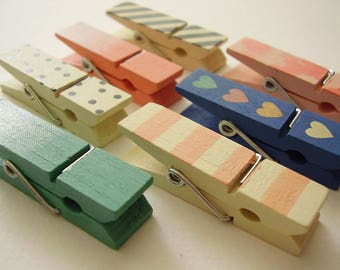 Set of 7 Chunky Mini Clothespin Fridge Magnets / Super Strong /  Screenprinted / Cute magnets