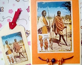 Masai Tribesman Africa kenya Greetings Birthday Card and tag