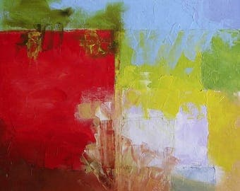 Abstract painting, original oil, bright red, light sky blue, yellow, green, white,  brown, square, 12 x 12