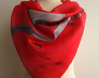 Silk scarf Handpainted- Hand Painted square Silk Scarf- Red-Pink-Grey Silk Square Scarf- Giveaways -Gifts for her- 35x35in. (90x90cm)