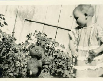 Vintage photo 1919 Little Baby Girl Plays w Her Teddy Bear