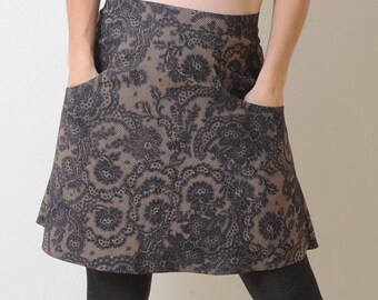 Lace print skirt, Brown and black skirt with pockets, A-line skirt, Fall fashion, Womens skirts, MALAM, Womens clothing, size UK 12