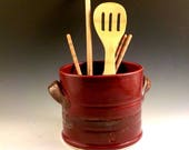 Ceramic Utensil Crock - Stoneware Kitchen Tool Jar - Handmade Jar - Wide Wine Bottle Chiller - Ready to Ship - Brick Red and Jasper  v629