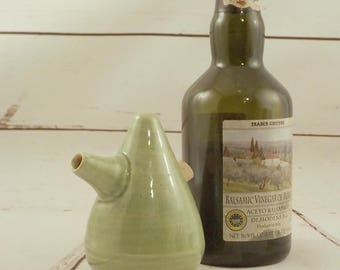 Stoneware Cruet - Oil Vinegar or Soy Server - Spouted Ceramic Pourer - Store and Serve - Table Server - Celadon Green - Ready to Ship s530