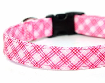 Pink Plaid Dog Collar, Personalized Collar available, Engraved Collar optional - Farmgirl Plaid