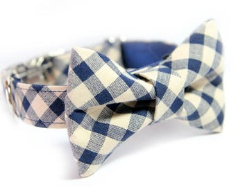 Plaid Bow Tie Collar, Personalized Bow Tie Collar option, Bias Blue and Ivory Tartan Collar