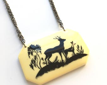 CLOSING DOWN SALE Deer Fawn Stag Vintage Cameo Necklace
