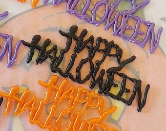 Spooky / Happy Halloween Cake Toppers / Set of Six / Assemblage Art / Faux Haunted Houses