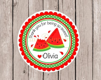 Watermelon Birthday Party Favor Tags or Stickers / Personalized Red Watermelon Favor Tag or Stickers for Birthday or Baby Shower / Set of 12