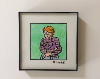 """Stranger Things, Original Drawing, Barb, 4"""" x 4"""", TV, Sci Fi, Pop Culture, 11, Barbara Holland, Shannon Purser, ink and crayon"""