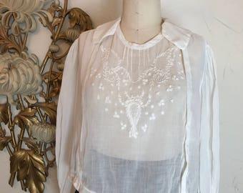 antique blouse edwardian blouse white blouse embroidered blouse size medium vintage blouse cotton blouse victorian blouse 38 bust 38 bust
