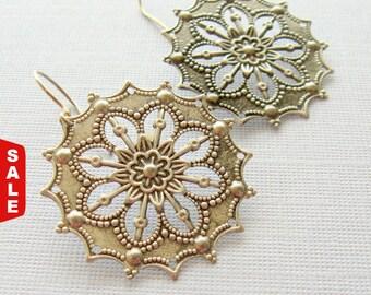 Medallion Earrings, Silver Medallion Earrings, Pewter Earrings, Gift for Her Jewelry