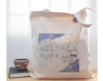 rain tote, cloud, positive quotes, positive affirmation, whimsical print, gift for him, words, stars, blue, ivory, graduation gift