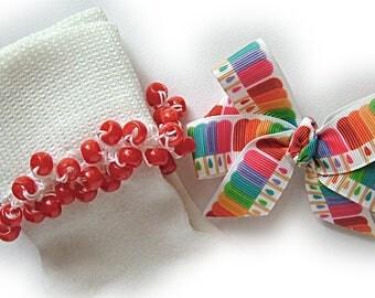 Kathy's Beaded Socks - Rainbow Popsicles and Hairbow, girls socks, red socks, pony bead socks, school socks, popsicle socks, blue socks