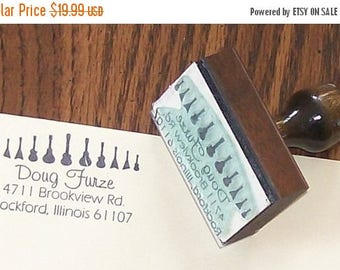 Super Summer Sale Custom Guitar Return Address Rubber Stamp with Your Name or Message AD10