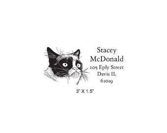 Xmas in July Grumpy Cat Custom Return Address Rubber Stamp AD353