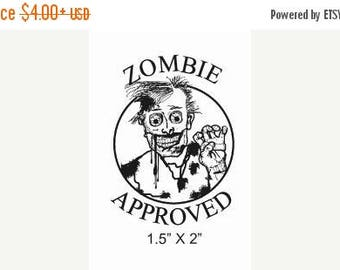 Luck of the Irish Zombie Approved Rubber Stamp Original Art 180