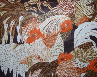 Vintage upholstery ROOSTER FABRIC remnants fabric supply for pillows clutch purse or totae