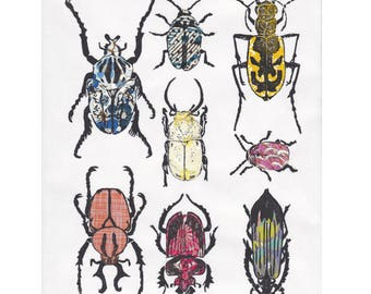 Other Beetles IV - Hand-printed Linocut Print of a Collection of Beetles on Various Pattterned Japanese Washi Papers - Natural History