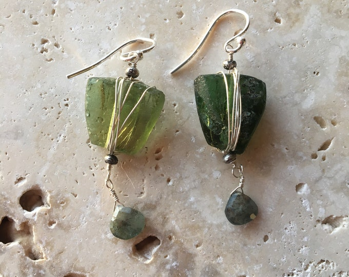 Ancient Roman Glass and Sterling Silver Earrings with Thai Silver Accents Green Unique Old Boho
