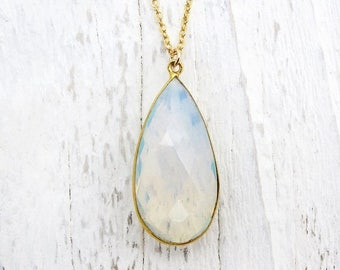 opal drop necklace, briolette necklace, opalite necklace, gold necklace, wedding jewelry, bridal necklace, quartz glass pendant,gift for her