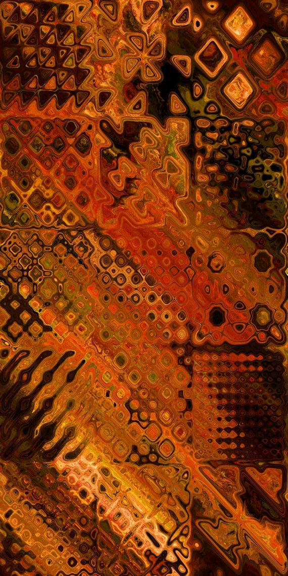 Artisan Made Fleece Fiber Art Fabric Panel Patchwork Golden Red Fall Vibrant Blanket