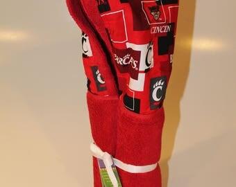 University of Cincinnati red hooded towel