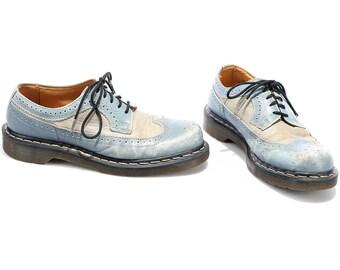 DOC MARTENS Brogues Shoes 80s Original Distressed Platform Chunky Blue Grey Real Leather Wide Fit Unisex England  Us men 7.5 Eur 40 Uk 7
