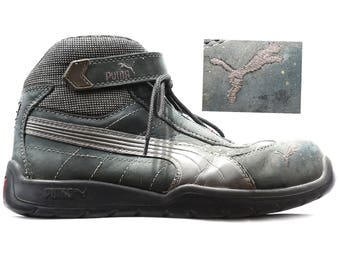 PUMA Work Boots Sneakers 90s Vintage Grey Suede Logger Safety Boots Steel Toe Distressed Grunge Riding Survivor Boots Us 8 Uk 7.5 Eu 41