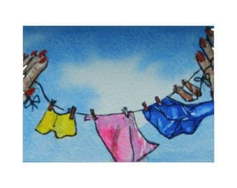 ACEO Hanging Up Laundry Clothesline Held by Hands Original Watercolor Painting Collectible Miniature Dollhouse Art by MHamiltonArt DreamON