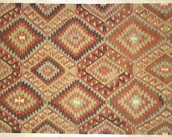 Kilim Rug 5.5' x 10.5' Coral Mint Brown Diamond Tribal Wool Vintage
