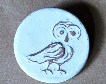 Handmade Ceramic Pin Brooch with a Charming Rustic Owl -  Stoneware Christmas Gift - Winter Solstice Gift - Woodland Gift for Nature Lovers