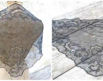 Vintage  French black lace scarf shawl mantilla