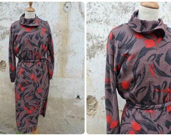 Vintage 1970 /1980 asymmetrical hight collar dress   jersey size S/M