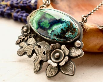 Azurite Necklace, Handmade Silver and Stone Jewelry, Botanical Jewelry, Oxidized Silver Pendant, One of a Kind Necklace, Unique Metalwork