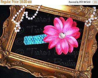 SUMMER SALE 20% OFF Pink Blue Girls Headband Photo Prop - Hot Pink Lily w/ Rhinestone Center on Turquoise Blue Headband - Flower Headband to