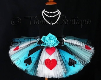 "SUMMER SALE 20% OFF Tutu - Alice of Hearts - A Tiara's Boutique Original Design - Custom Sewn Tutu - Up to 12"" Long - girls size 9 to 12"
