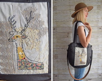 TUNDRA // Embroidered deer, antique parisian lace, upcycled leather // READY To SHIP