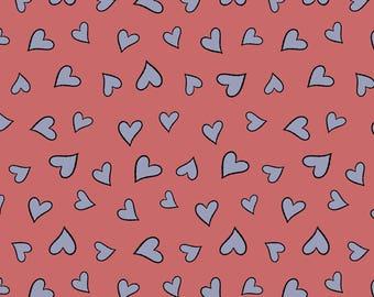 Knuffle Bunny fabric from  Cloud Nine, Hearts in Pink, Organic Cotton, yard