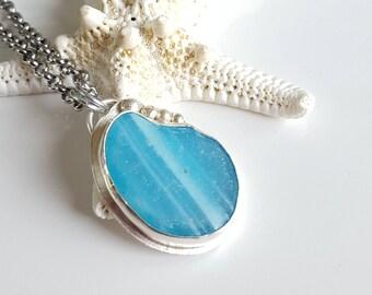 Sea Glass Jewelry Electric Blue Sea Glass Aqua Blue Sea Glass Pendant Sea Glass Necklace Art Glass Sea Glass Jewelry - N-545