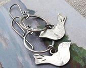 Reserved for Bronte modern bird dangle earrings - sterling silver
